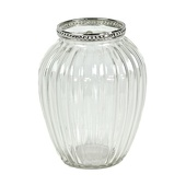 "DecoStar™ 12 PACK - 5 1/2"" Glam Stripe Etched Glass Vase W/ Silver Trim - Wide"