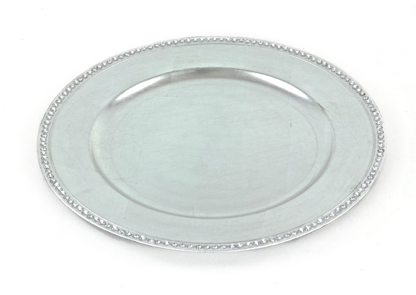 13 Glam Silver Charger Plate W Rhinestone Border 24 Pack