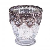 "DecoStar™ Silver Mercury Votive/Candle Holder on Small Pedestal w/ Metal Rim - 3.15"" Tall - 6 Pack!"