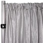 "*FR* Extra Wide Crushed Taffeta ""Tergalet"" Drape Panel by Eastern Mills 9ft Wide w/ 4"" Sewn Rod Pocket - Silver"