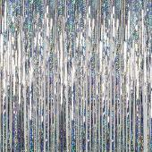 Silver - Holographic Fringe Curtain - Many Size Options