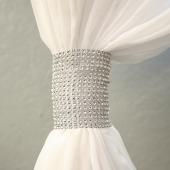 DecoStar™ Silver Rhinestone Mesh Velcro Band / Curtain Tie