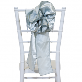 "DecoStar™ 9"" Satin Flower Chair Accent - Silver"