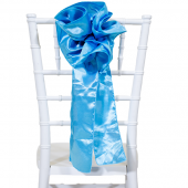"DecoStar™ 9"" Satin Flower Chair Accent - Sky Blue"