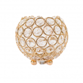 """DecoStar™ Crystal Candle Globe / Sphere in Soft Gold - Small - 4"""""""