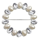 DecoStar™ JUMBO Round Buckle w/Clear and Pearl Stones in Silver Setting