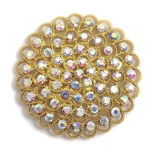 DecoStar™ Large Concentric Iridescent Gemstone Brooch in Gold