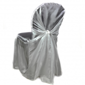 Premium Taffeta (Chameleon) Fabric Chair Cover By Eastern Mills in Silver - Universal Fit!