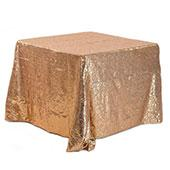 "Square 90"" x 90"" Sequin Tablecloth by Eastern Mills - Premium Quality - Taupe"