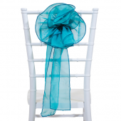 "DecoStar™ 9"" Sheer Flower Chair Accent - Teal Blue"