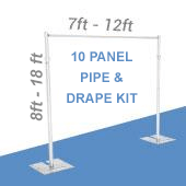 DELUXE-10 Panel Pipe and Drape Kit / Backdrop - 8-18 Feet Tall (Adjustable) Comes W/ 3 Piece Uprights for Maximum Height Adjustment