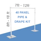 DELUXE-40 Panel Pipe and Drape Kit / Backdrop - 8-18 Feet Tall (Adjustable) Comes W/ 3 Piece Uprights for Maximum Height Adjustment