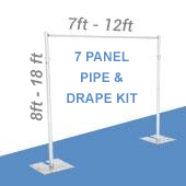 DELUXE-7 Panel Pipe and Drape Kit / Backdrop - 8-18 Feet Tall (Adjustable) Comes W/ 3 Piece Uprights for Maximum Height Adjustment