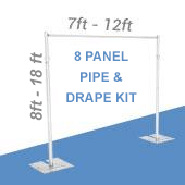 DELUXE-8 Panel Pipe and Drape Kit / Backdrop - 8-18 Feet Tall (Adjustable) Comes W/ 3 Piece Uprights for Maximum Height Adjustment