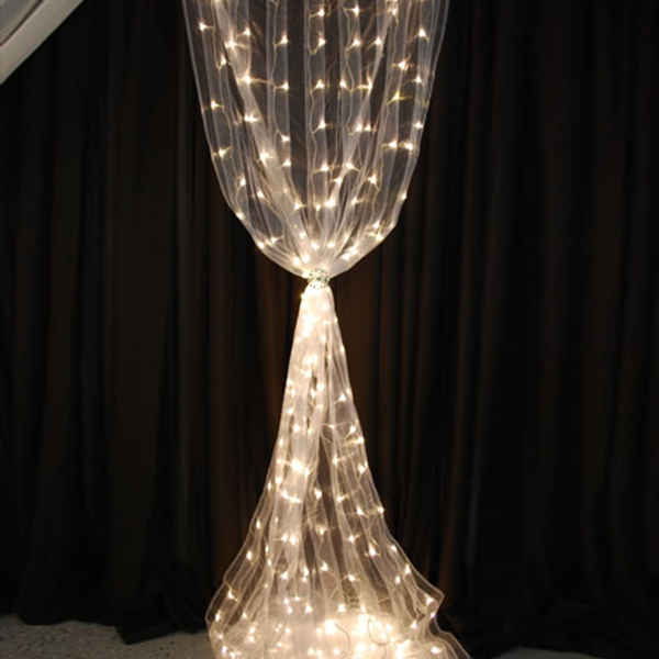 12ft White Organza Curtain With Warm White Led Lights