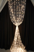 8ft White Organza Curtain with Warm White LED Lights