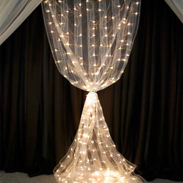 12ft white organza curtain with warm white led lights for Decor direct