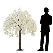 5FT Drooping Hydrangea Bloom Tree - Floor or Centerpiece - 10 Interchangeable Branches - White
