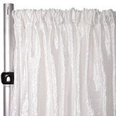 "Extra Wide Crushed Taffeta ""Tergalet"" Drape Panel by Eastern Mills 9ft Wide w/ 4"" Sewn Rod Pocket - White"