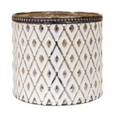 "DecoStar™ Shabby Chic Diamond Design White Votive w/ Gold Mercury Lining and Metal Rimmed Top - 4.3"" Tall"