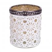 "DecoStar™ Shabby Chic Circular Design White Votive w/ Gold Mercury Lining and Metal Rimmed Top - 2.7"" Tall"