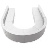 """Titan Series Leather Reception Configuration Style """"MM"""" 8 Pieces """"White"""""""