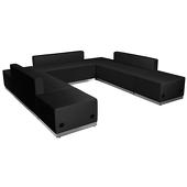 """Titan Series Leather Reception Configuration Style """"JJ"""" 7 Pieces """"Black"""""""